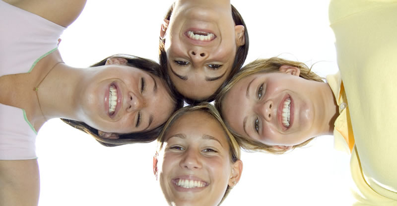 Group photo looking down at the camera